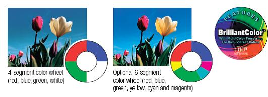 4-segment or Optional BrilliantColor 6-segment Color Wheel