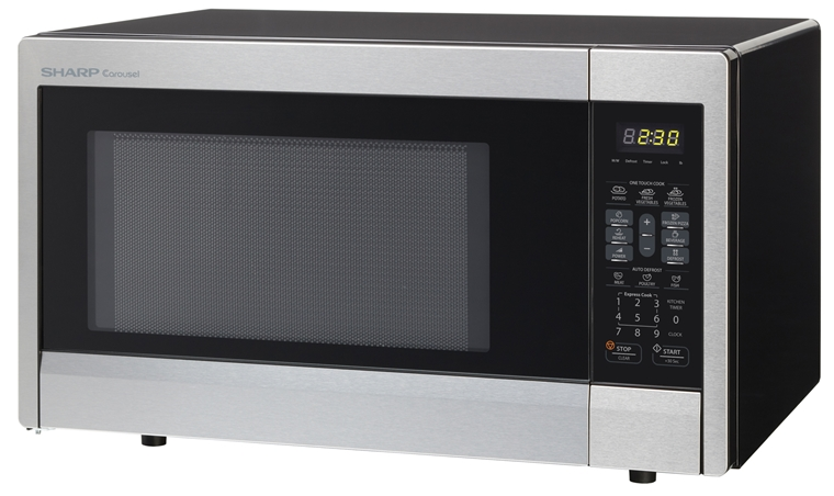 1.1 cu. ft. Sharp Stainless Steel Countertop Microwave (R-331ZS) – left angle view