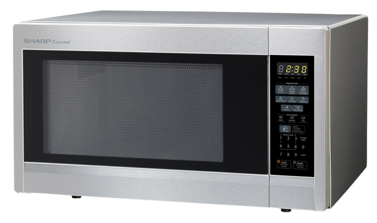 1.8 cu. ft. Sharp Stainless Steel Countertop Microwave (R-551ZS) – left angle view