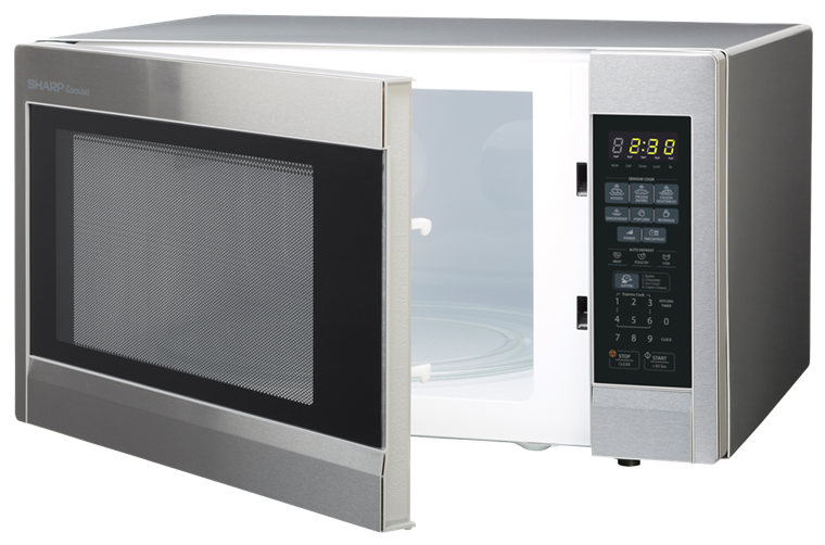 1.8 cu. ft. Sharp Stainless Steel Countertop Microwave (R-551ZS) – left angle view with door open