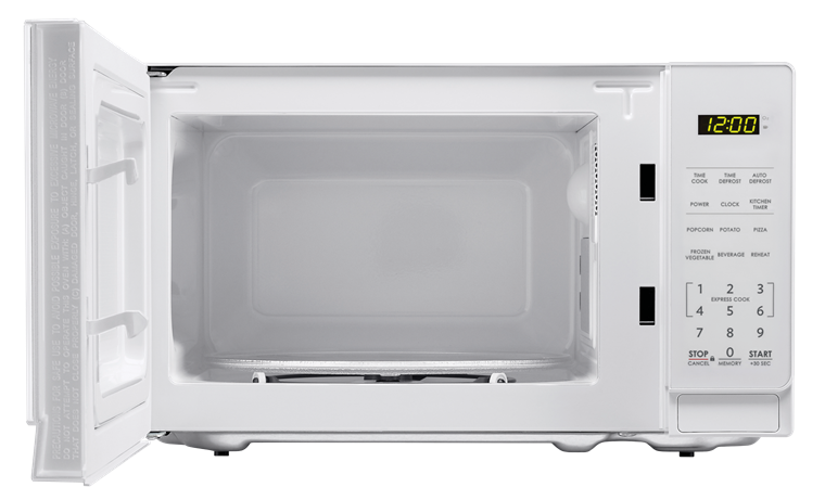 0.7 cu. ft. Sharp White Carousel Microwave (SMC0710BW) – front view with door open
