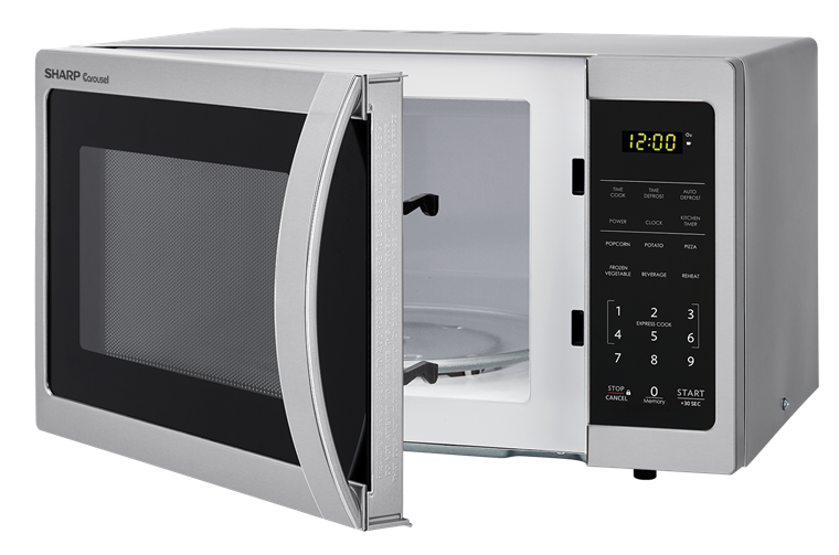 0.7 cu. ft. Sharp Stainless Steel Carousel Microwave (SMC0711BS) – left angle view with door open