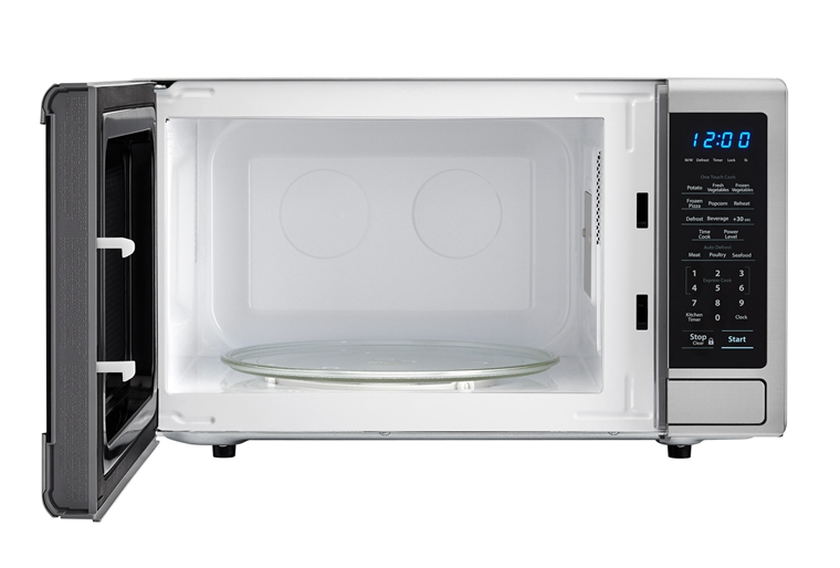 1.1 cu. ft. Sharp Stainless Steel Orville Redenbacher's Carousel Microwave (SMC1132CS) – front view with door open