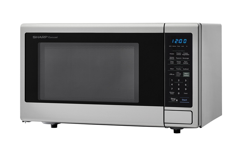 1.4 cu. ft. Sharp Stainless Steel Orville Redenbacher's Microwave (SMC1442CS) – left angle view