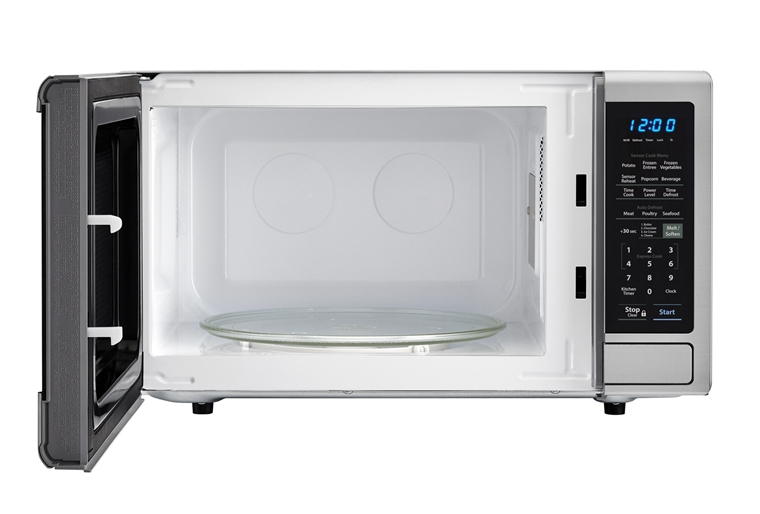 1.4 cu. ft. Sharp Stainless Steel Orville Redenbacher's Microwave (SMC1442CS) – front view with door open