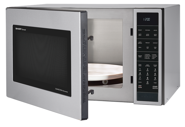 1.5 cu. ft. Stainless Steel Carousel Convection Microwave (SMC1585BS) – left angle view with door open
