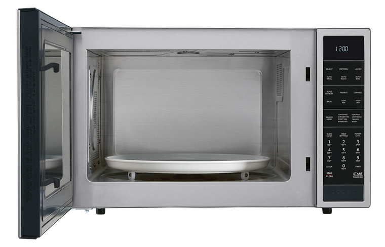 1.5 cu. ft. Stainless Steel Carousel Convection Microwave (SMC1585BS) – front view with door open