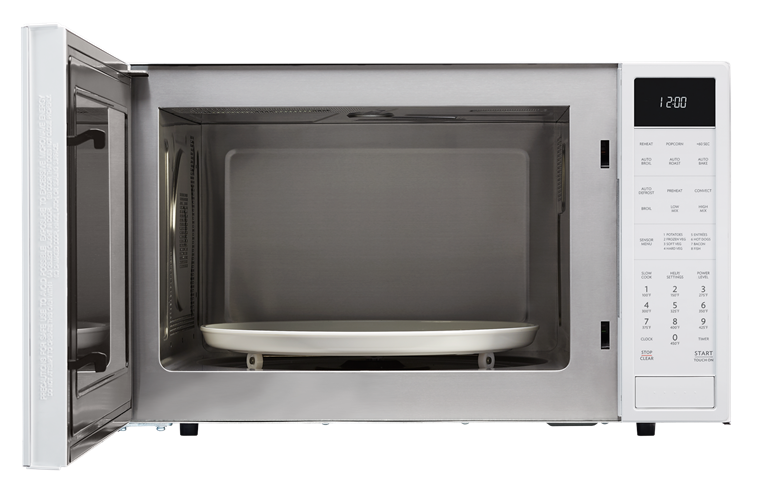 1.5 cu. ft. White Carousel Convection Microwave (SMC1585BW) – front view with door open