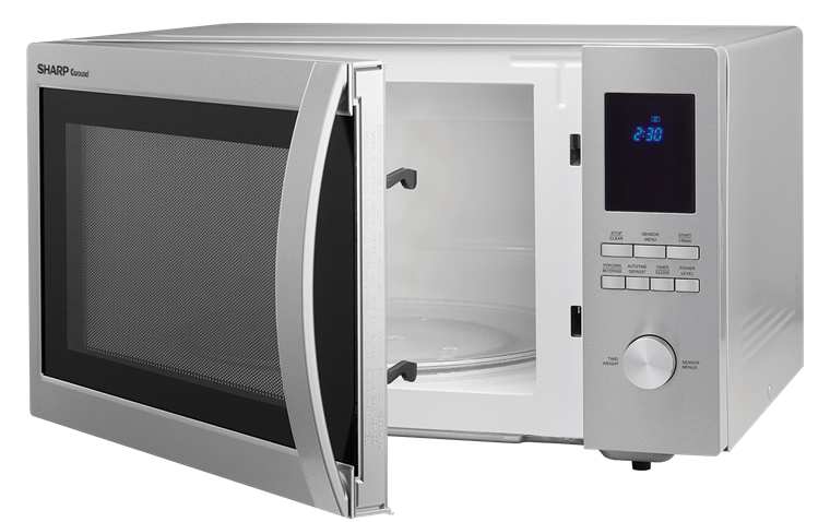 1.6 cu. ft. Sharp Stainless Steel Carousel Microwave (SMC1655BS) – left angle view with door open