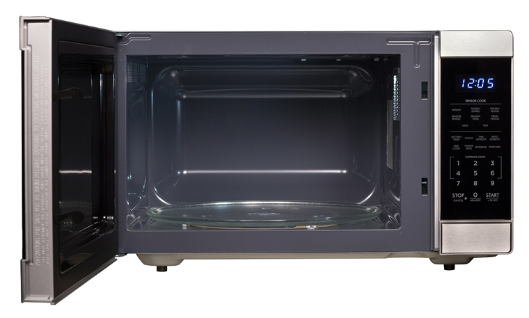 1.6 cu. ft. 1100W Stainless Steel Countertop Microwave Oven (SMC1662DS) – front view with door open