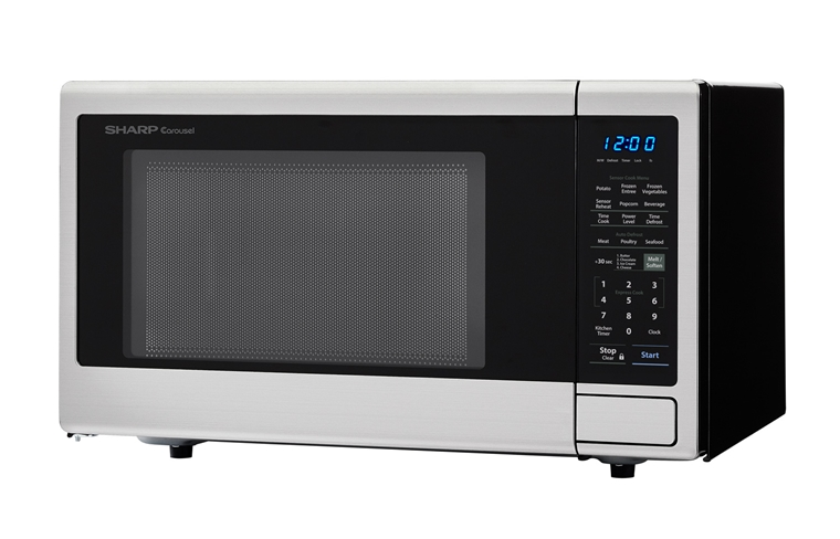 1.8 cu. ft. 1100W Sharp Stainless Steel Countertop Microwave (SMC1840CS) – left angle view