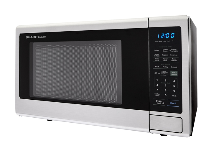 1.1 cu. ft. Sharp Black Countertop Microwave (R-309YK) – left side view