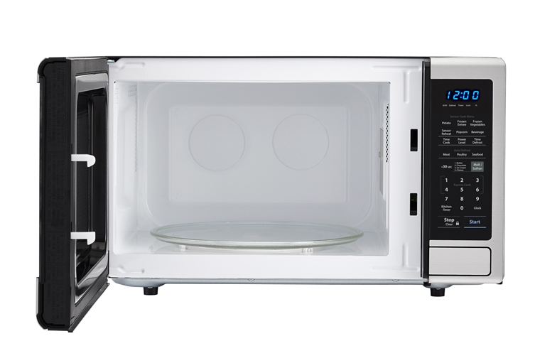 1.8 cu. ft. 1100W Sharp Stainless Steel Countertop Microwave (SMC1840CS) – front view with door open