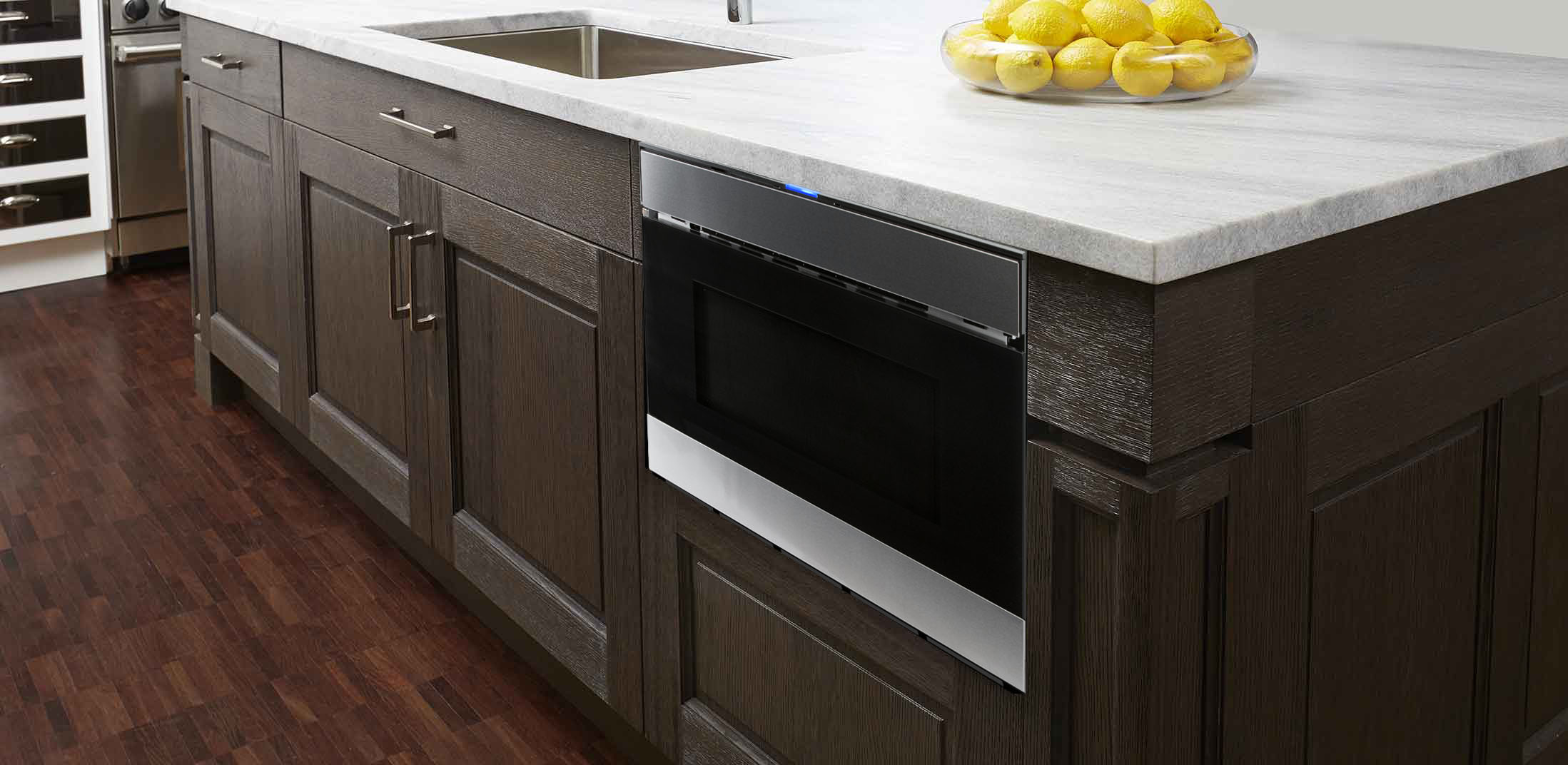 Faster When The Smd2480cs Sharp Microwave Drawer Oven Is Installed Adjacent To Your Food Preparation Area In Islands Peninsulas Or Under Counter