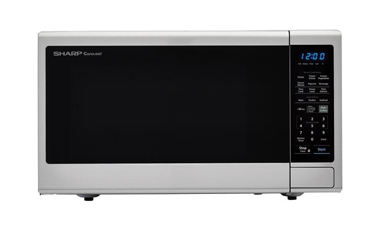 1100w Sharp Stainless Steel Countertop Microwave With Black Mirror Door