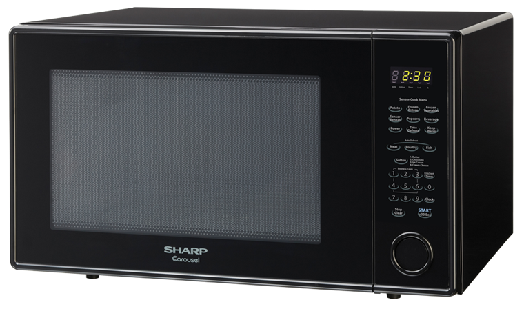 2.2 cu. ft. 1200W Sharp Black Countertop Microwave Oven (R-659YK) – left angle view