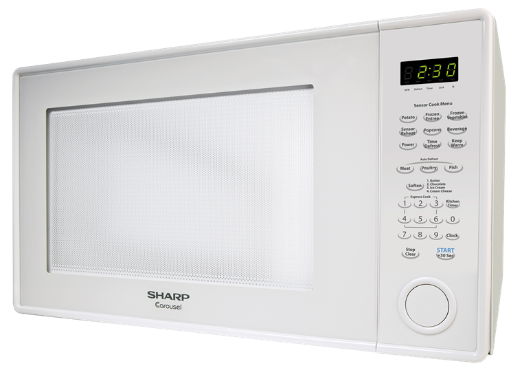 2.2 cu. ft. Sharp White Countertop Microwave (R-659W) – left side view