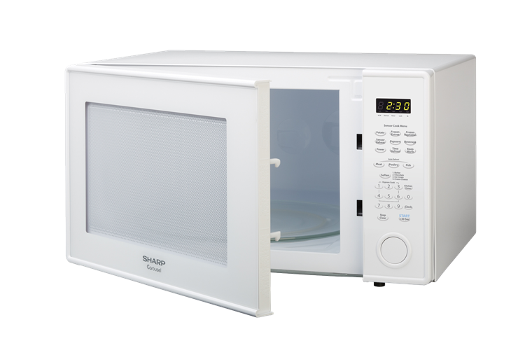 2.2 cu. ft. Sharp White Countertop Microwave (R-659W) – left angle view with door open