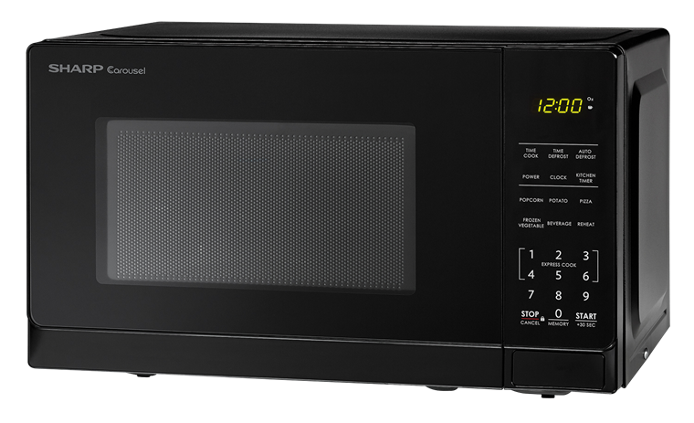 0.7 cu. ft. Sharp Black Carousel Microwave (SMC0710BB) – left angle view