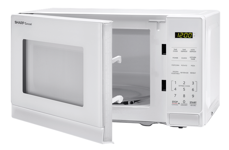 0.7 cu. ft. Sharp White Carousel Microwave (SMC0710BW) – left angle view with door open
