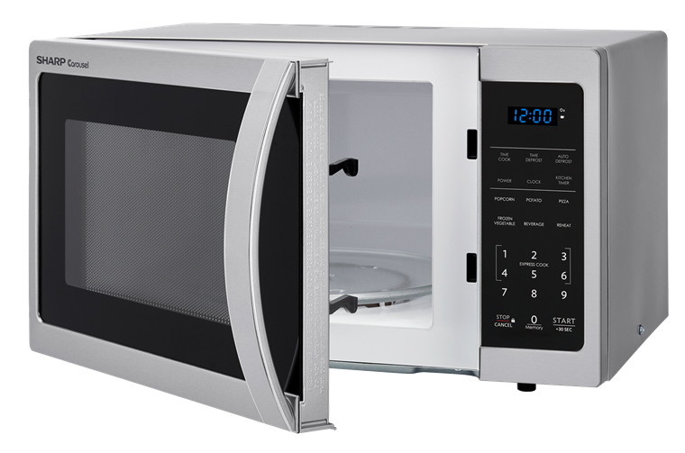 0.9 cu. ft. Sharp Stainless Steel Carousel Microwave (SMC0912BS) – left angle view with door open