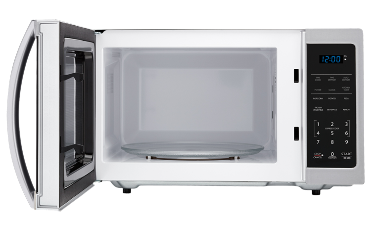 0.9 cu. ft. Sharp Stainless Steel Carousel Microwave (SMC0912BS) – front view with door open