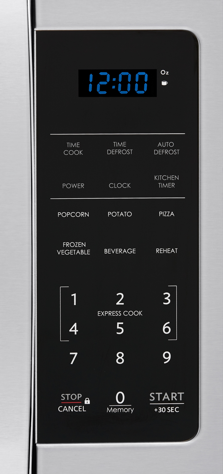 0.9 cu. ft. Sharp Stainless Steel Carousel Microwave (SMC0912BS) – control panel