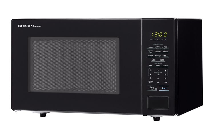 1.1 cu. ft. 1000W Sharp Countertop Black Microwave (SMC1131CB) – left angle view