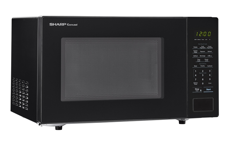 1.1 cu. ft. 1000W Sharp Countertop Black Microwave (SMC1131CB) – right angle view