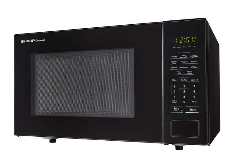 1.1 cu. ft. 1000W Sharp Countertop Black Microwave (SMC1131CB) – left side view