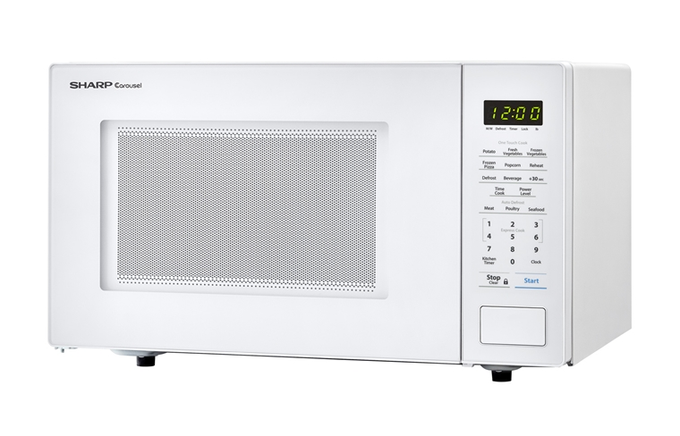 1.1 cu. ft. 1000W Sharp White Countertop Microwave (SMC1131CW) – left angle view