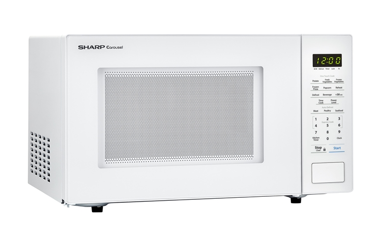 1.1 cu. ft. 1000W Sharp White Countertop Microwave (SMC1131CW) – right angle view