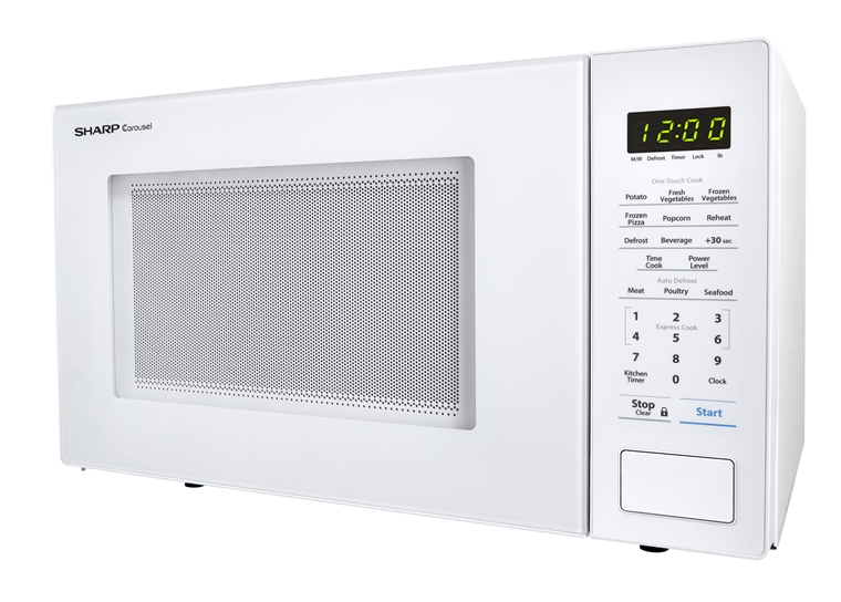 1.1 cu. ft. 1000W Sharp White Countertop Microwave (SMC1131CW) – left side view