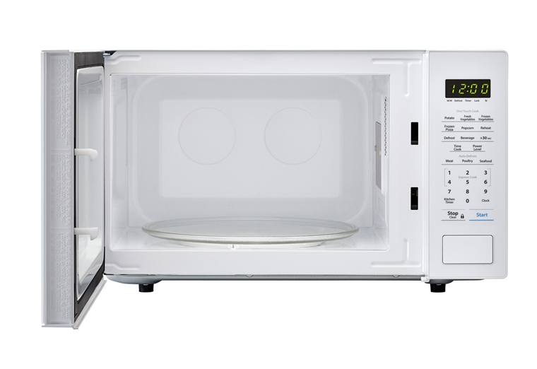 1.1 cu. ft. 1000W Sharp White Countertop Microwave (SMC1131CW) – front view with door open