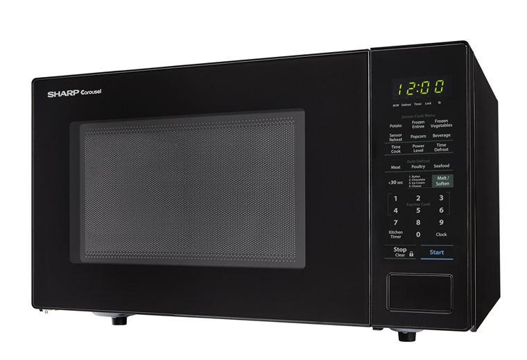 1.4 cu. ft. 1000W Sharp Black Countertop Microwave (SMC1441CB) – left side view