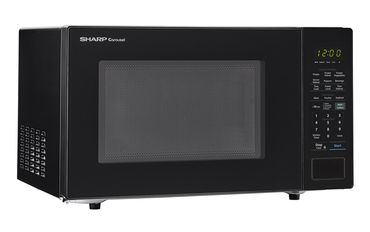 1.4 cu. ft. 1000W Sharp Black Countertop Microwave (SMC1441CB) – left angle view